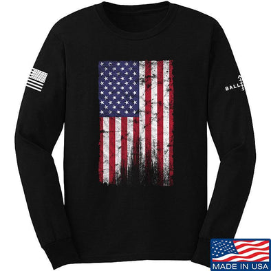 IV8888 Distressed Flag Long Sleeve T-Shirt Long Sleeve Small / Black by Ballistic Ink - Made in America USA