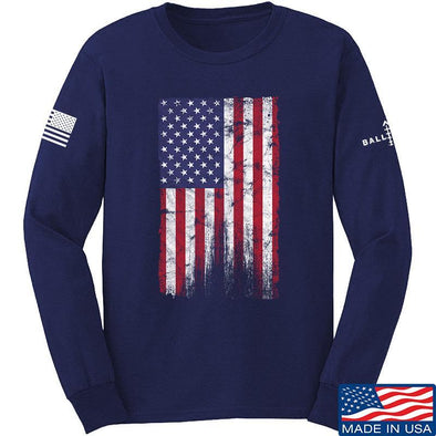 IV8888 Distressed Flag Long Sleeve T-Shirt Long Sleeve Small / Navy by Ballistic Ink - Made in America USA