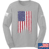 IV8888 Distressed Flag Long Sleeve T-Shirt Long Sleeve Small / Light Grey by Ballistic Ink - Made in America USA