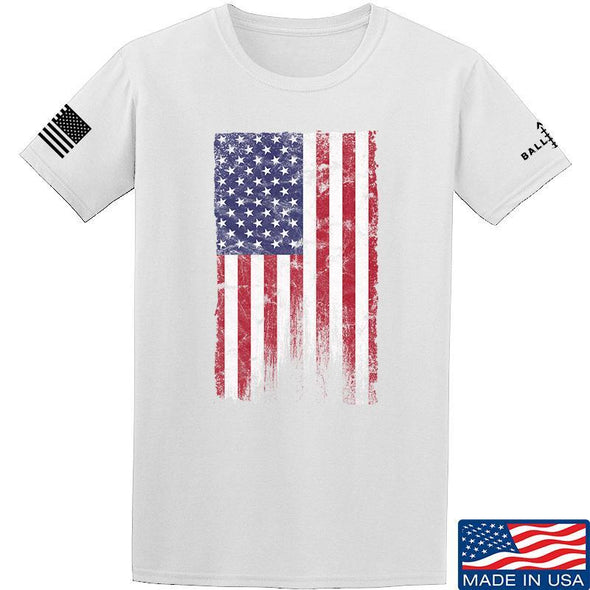 IV8888 Distressed Flag T-Shirt T-Shirts Small / White by Ballistic Ink - Made in America USA