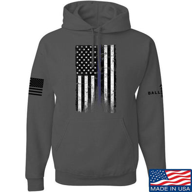 IV8888 Thin Blue Line Hoodie Hoodies Small / Charcoal by Ballistic Ink - Made in America USA
