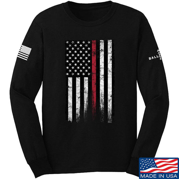 IV8888 Thin Red Line Long Sleeve T-Shirt Long Sleeve Small / Black by Ballistic Ink - Made in America USA