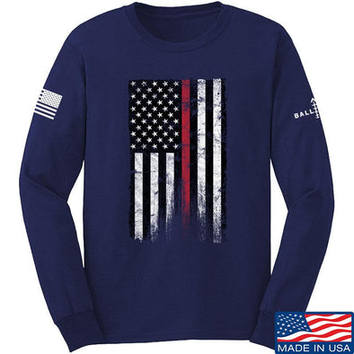 IV8888 Thin Red Line Long Sleeve T-Shirt Long Sleeve Small / Navy by Ballistic Ink - Made in America USA