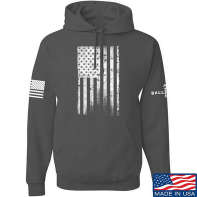 IV8888 Distressed White Flag Hoodie Hoodies Small / Charcoal by Ballistic Ink - Made in America USA