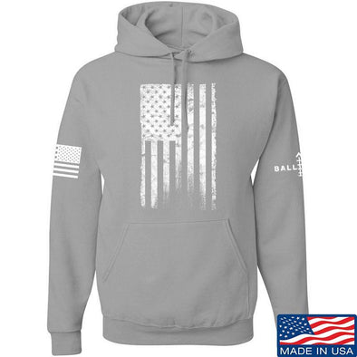 IV8888 Distressed White Flag Hoodie Hoodies Small / Light Grey by Ballistic Ink - Made in America USA