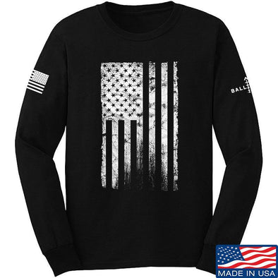 IV8888 Distressed White Flag Long Sleeve T-Shirt Long Sleeve Small / Black by Ballistic Ink - Made in America USA
