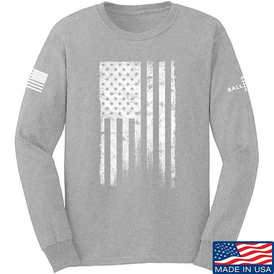 IV8888 Distressed White Flag Long Sleeve T-Shirt Long Sleeve Small / Light Grey by Ballistic Ink - Made in America USA