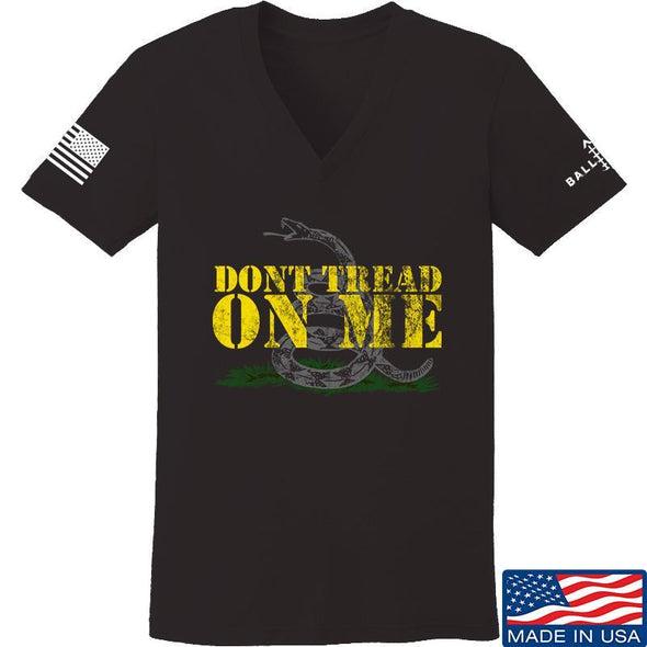 IV8888 Ladies Don't Tread on Me V-Neck T-Shirts, V-Neck SMALL / Black by Ballistic Ink - Made in America USA