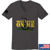 IV8888 Ladies Don't Tread on Me V-Neck T-Shirts, V-Neck SMALL / Charcoal by Ballistic Ink - Made in America USA
