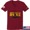 IV8888 Ladies Don't Tread on Me V-Neck T-Shirts, V-Neck SMALL / Cranberry by Ballistic Ink - Made in America USA