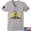 IV8888 Ladies Don't Tread on Me V-Neck T-Shirts, V-Neck SMALL / Light Grey by Ballistic Ink - Made in America USA