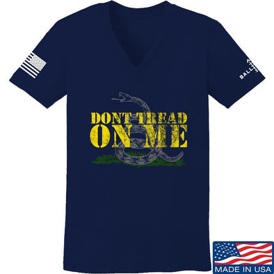 IV8888 Ladies Don't Tread on Me V-Neck T-Shirts, V-Neck SMALL / Navy by Ballistic Ink - Made in America USA