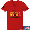 IV8888 Ladies Don't Tread on Me V-Neck T-Shirts, V-Neck SMALL / Red by Ballistic Ink - Made in America USA