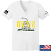 IV8888 Ladies Don't Tread on Me V-Neck T-Shirts, V-Neck SMALL / White by Ballistic Ink - Made in America USA