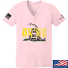 IV8888 Ladies Don't Tread on Me V-Neck T-Shirts, V-Neck SMALL / Light Pink by Ballistic Ink - Made in America USA