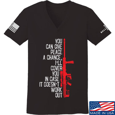 IV8888 Ladies Give Peace A Chance V-Neck T-Shirts, V-Neck SMALL / Black by Ballistic Ink - Made in America USA