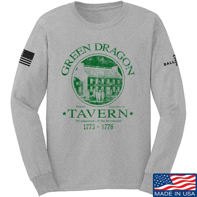 IV8888 Green Dragon Tavern Long Sleeve T-Shirt Long Sleeve Small / Light Grey by Ballistic Ink - Made in America USA