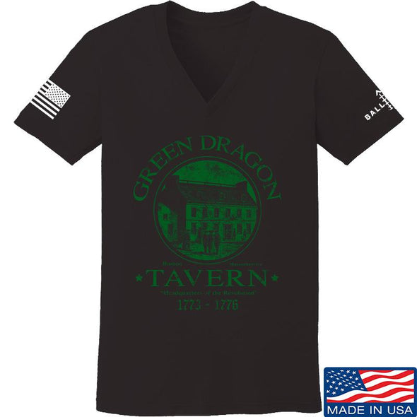 IV8888 Ladies Green Dragon Tavern V-Neck T-Shirts, V-Neck SMALL / Black by Ballistic Ink - Made in America USA