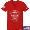 IV8888 Ladies Green Dragon Tavern V-Neck T-Shirts, V-Neck SMALL / Red by Ballistic Ink - Made in America USA