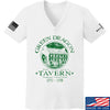 IV8888 Ladies Green Dragon Tavern V-Neck T-Shirts, V-Neck SMALL / White by Ballistic Ink - Made in America USA