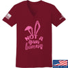 IV8888 Ladies Not a Gun Bunny V-Neck T-Shirts, V-Neck SMALL / Cranberry by Ballistic Ink - Made in America USA