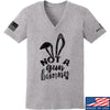 IV8888 Ladies Not a Gun Bunny V-Neck T-Shirts, V-Neck SMALL / Light Grey by Ballistic Ink - Made in America USA