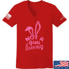IV8888 Ladies Not a Gun Bunny V-Neck T-Shirts, V-Neck SMALL / Red by Ballistic Ink - Made in America USA