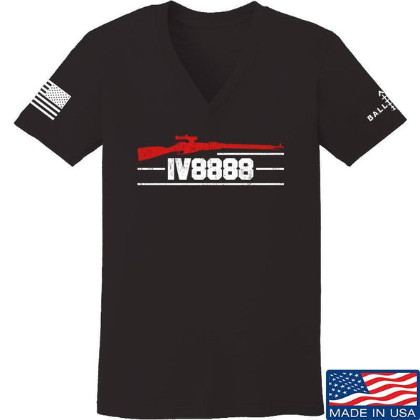 IV8888 Ladies IV8888 Logo V-Neck T-Shirts, V-Neck SMALL / Black by Ballistic Ink - Made in America USA