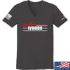 IV8888 Ladies IV8888 Logo V-Neck T-Shirts, V-Neck SMALL / Charcoal by Ballistic Ink - Made in America USA