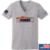 IV8888 Ladies IV8888 Logo V-Neck T-Shirts, V-Neck SMALL / Light Grey by Ballistic Ink - Made in America USA