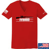 IV8888 Ladies IV8888 Logo V-Neck T-Shirts, V-Neck SMALL / Red by Ballistic Ink - Made in America USA