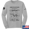 IV8888 M240 Machine Gun Specs Long Sleeve T-Shirt Long Sleeve Small / Light Grey by Ballistic Ink - Made in America USA