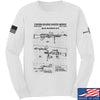 IV8888 M240 Machine Gun Specs Long Sleeve T-Shirt Long Sleeve Small / White by Ballistic Ink - Made in America USA