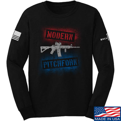 IV8888 Modern Pitchfork Long Sleeve T-Shirt Long Sleeve Small / Black by Ballistic Ink - Made in America USA