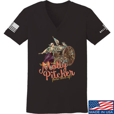 IV8888 Ladies Molly Pitcher V-Neck T-Shirts, V-Neck SMALL / Black by Ballistic Ink - Made in America USA