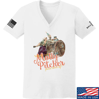 IV8888 Ladies Molly Pitcher V-Neck T-Shirts, V-Neck SMALL / White by Ballistic Ink - Made in America USA