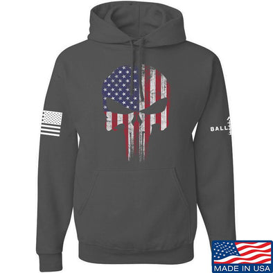 IV8888 Skull Distressed Flag Hoodie Hoodies Small / Charcoal by Ballistic Ink - Made in America USA