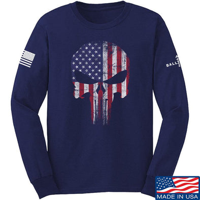 IV8888 Skull Distressed Flag Long Sleeve T-Shirt Long Sleeve Small / Navy by Ballistic Ink - Made in America USA
