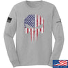 IV8888 Skull Distressed Flag Long Sleeve T-Shirt Long Sleeve Small / Light Grey by Ballistic Ink - Made in America USA