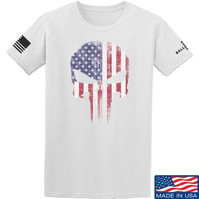 IV8888 Skull Distressed Flag T-Shirt T-Shirts Small / White by Ballistic Ink - Made in America USA