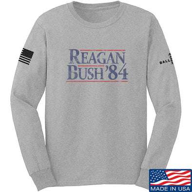 IV8888 Reagan Bush Long Sleeve T-Shirt Long Sleeve Small / Light Grey by Ballistic Ink - Made in America USA