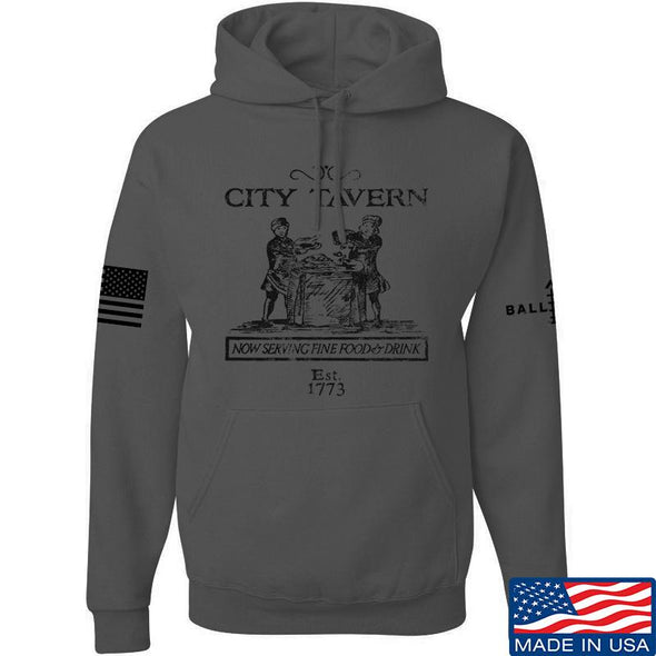 IV8888 Founding Fathers' City Tavern Signage Hoodie Hoodies Small / Charcoal by Ballistic Ink - Made in America USA
