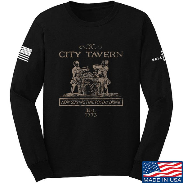 IV8888 Founding Fathers' City Tavern Signage Long Sleeve T-Shirt Long Sleeve Small / Black by Ballistic Ink - Made in America USA