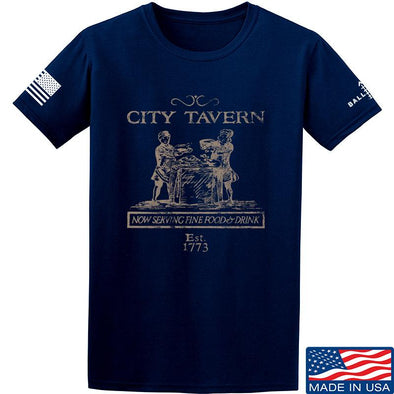 IV8888 Founding Fathers' City Tavern Signage T-Shirt T-Shirts Small / Navy by Ballistic Ink - Made in America USA