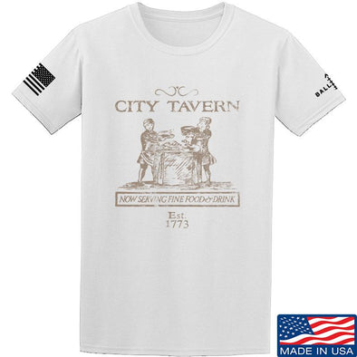 IV8888 Founding Fathers' City Tavern Signage T-Shirt T-Shirts Small / White by Ballistic Ink - Made in America USA