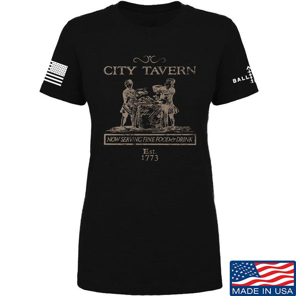 IV8888 Ladies Founding Fathers' City Tavern Signage T-Shirt T-Shirts SMALL / Black by Ballistic Ink - Made in America USA