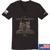 IV8888 Ladies Founding Fathers' City Tavern Signage V-Neck T-Shirts, V-Neck SMALL / Black by Ballistic Ink - Made in America USA