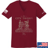 IV8888 Ladies Founding Fathers' City Tavern Signage V-Neck T-Shirts, V-Neck SMALL / Cranberry by Ballistic Ink - Made in America USA