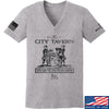 IV8888 Ladies Founding Fathers' City Tavern Signage V-Neck T-Shirts, V-Neck SMALL / Light Grey by Ballistic Ink - Made in America USA