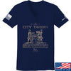 IV8888 Ladies Founding Fathers' City Tavern Signage V-Neck T-Shirts, V-Neck SMALL / Navy by Ballistic Ink - Made in America USA